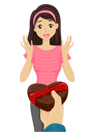 receiving: Illustration of a Teenage Girl Receiving a Box of Chocolates