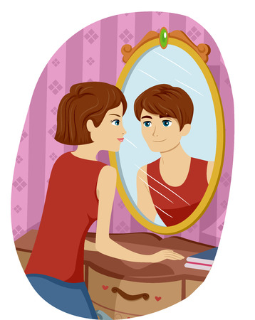 adolescent: Illustration of a Transgendered Girl Seeing the Reflection of a Boy on Her Mirror