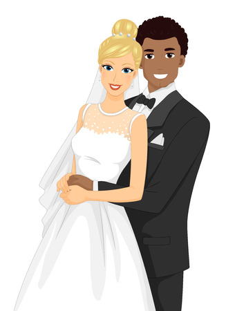 interracial: Illustration of an Interracial Couple Having Their Portrait Taken