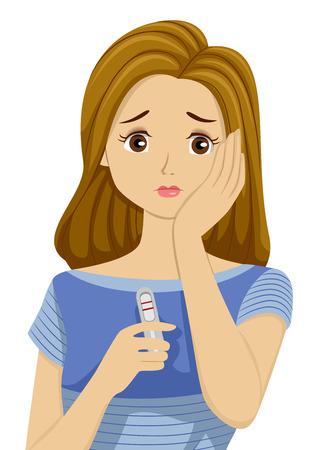 Illustration eines Teenager-Mädchen Besorgt Über einen positiven Schwangerschaftstest Ergebnis Standard-Bild - 59330723