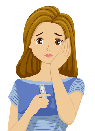 Illustration of a Teenage Girl Worried Over a Positive Pregnancy Test Result Stok Fotoğraf - 59330723