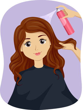 in vain: Illustration of a Teenage Girl Getting a Hair Treatment Stock Photo