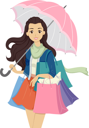 teenage girl: Illustration of a Teenage Girl Carrying Multiple Shopping Bags Stock Photo