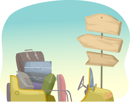 near: Illustration of a Pile of Suitcases Near a Wooden Sign