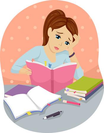 estudiando: Ilustración de un adolescente estudiar difícilmente Foto de archivo