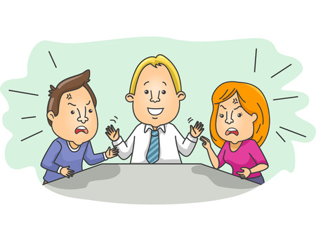 mediator: Illustration of an Arguing Married Couple Being Pacified by a Mediator