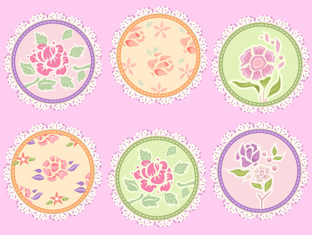 patches: Shabby Chic Illustration Featuring Frilly Patches Decorated with Flowers Stock Photo