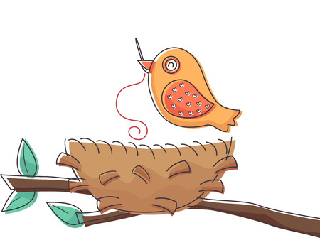 Illustration of a Bird Using a Needle to Put His Nest Together Stock Photo