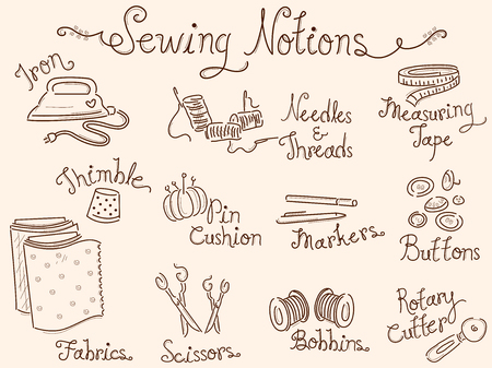 sewing materials: Typography Illustration Featuring Different Sewing Materials Stock Photo
