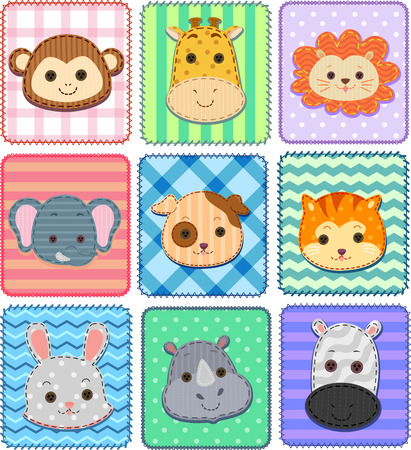 assortment: Illustration of an Assortment of Patches Featuring Cute Animals
