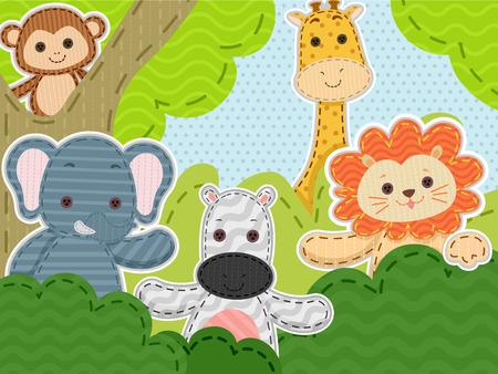 animales safari: Ilustración con un grupo de cosido Animales de Safari