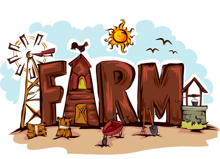 hay bales: Typography Illustration Featuring the Word Farm