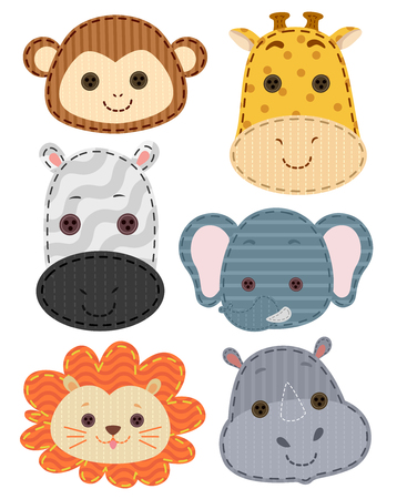 patches: Illustration of Colorful Patches Featuring Safari Animals