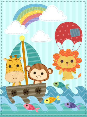 stitched: Illustration Featuring Stitched Safari Animals Riding a Boat