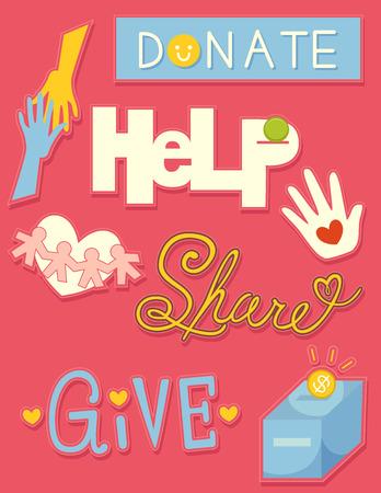 generosity: Ilustración de la donación de elementos relacionados Foto de archivo