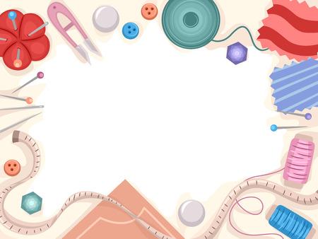Frame illustratie met een verscheidenheid aan naaien materialen