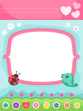 illustration invitation: Frame Illustration Featuring an Invitation Card Decorated with Sewing Materials