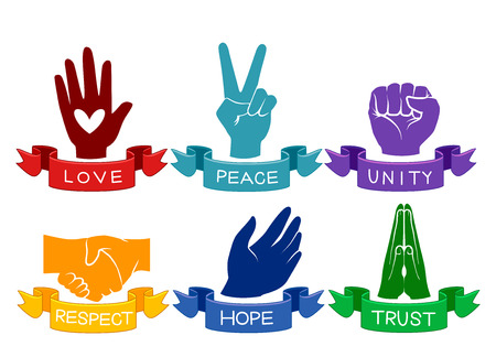 camaraderie: Illustration of Colorful Hands Representing Different Values