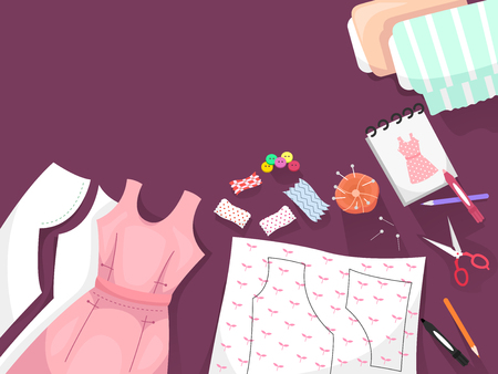 dressmaking: Border Illustration Featuring Dressmaking Patterns