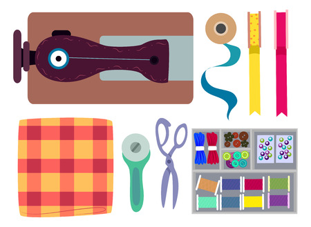 Top View Illustration of Sewing Elements Stock Photo