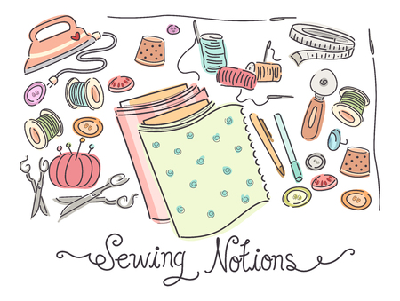 sewing materials: Colorful Illustration Featuring a Variety of Sewing Materials