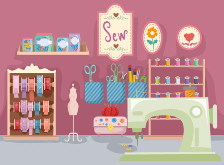 Illustration Featuring a Room Full of Sewing Materials Stock Photo