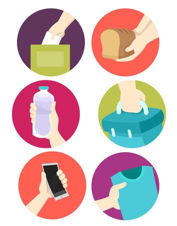 generosity: Illustration of Icons Featuring Donated Goods