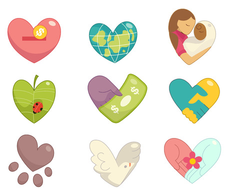 community service: Illustration of Community Service Icons Forming the Shape of a Heart