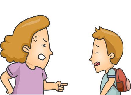 Illustration of a Little Boy Being Scolded by His Mom
