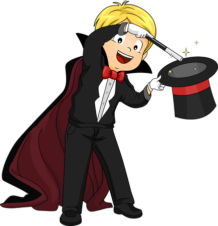 wizardry: Illustration of a Boy Performing a Magic Trick Stock Photo