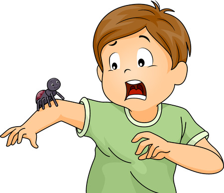 Illustration of a Little Boy Terrified by a Spider