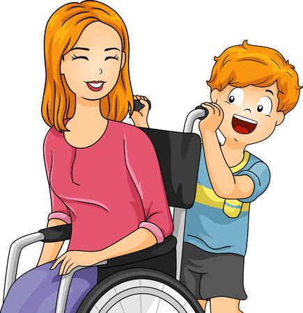 niño empujando: Ilustración de un niño pequeño que empuja la silla de ruedas de su madre