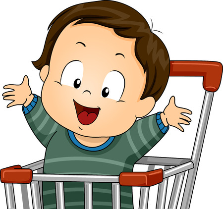 cart: Illustration of a Baby Boy Riding a Push Cart Stock Photo