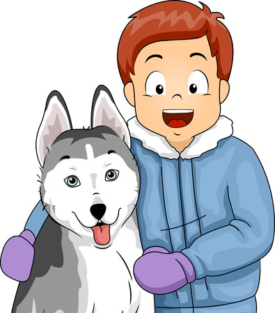 companions: Illustration of a Little Boy Taking a Photo with His Siberian Husky Stock Photo