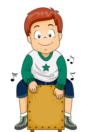 Illustration eines kleinen Jungen mit einem Cajon spielen Standard-Bild - 64885251