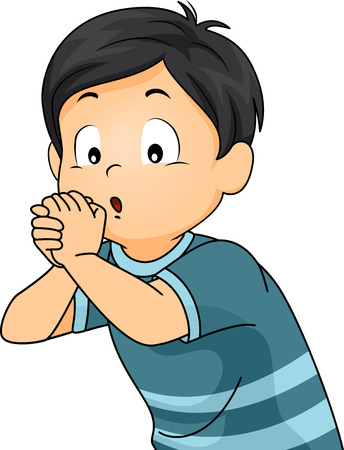 make believe: Illustration of a Boy Playing an Imaginary Flute