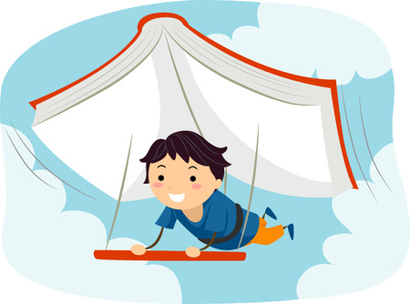 grade schooler: Illustration of a Boy Using a Giant Book as a Glider