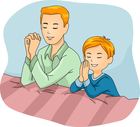 Illustration of a Father and Son Praying Together Banco de Imagens