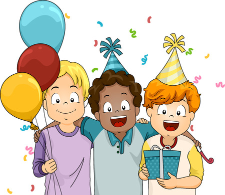 grade schooler: Illustration of Boys Giving a Friend a Surprise Birthday Gift