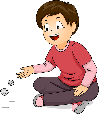 throwing: Illustration of a Little Boy Throwing Dice on the Floor