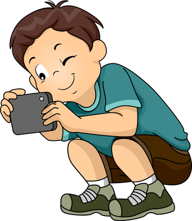 cartoon: Illustration of a Little Boy Taking a Picture With His Phone