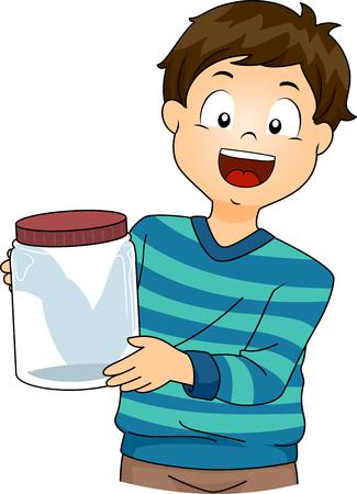 experiments: Illustration of a Little Boy Presenting a Laboratory Jar