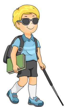 Illustration of a Blind School Boy Using a Cane