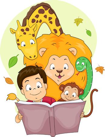 Illustrazione di un ragazzo che legge un libro di fiabe con animali selvatici