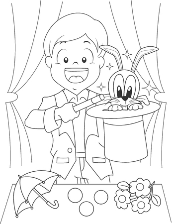 magic trick: Black and White Coloring Page Illustration of a Boy Dressed as a Magician Stock Photo