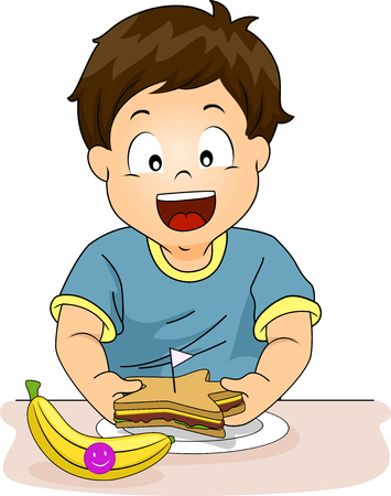 boxed: Illustration of a Little Boy Preparing a Healthy Snack