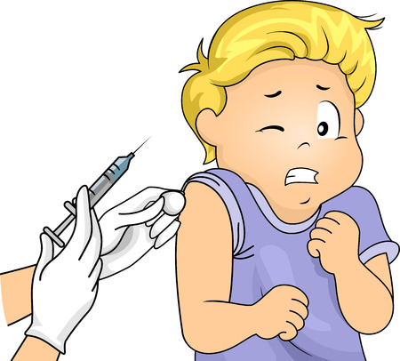 Illustration of a Little Boy Scared of Syringes Stock Photo