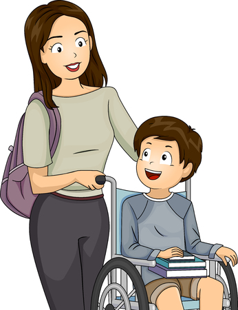 mom and son: Illustration of a Mom Pushing the Wheelchair of Her Son