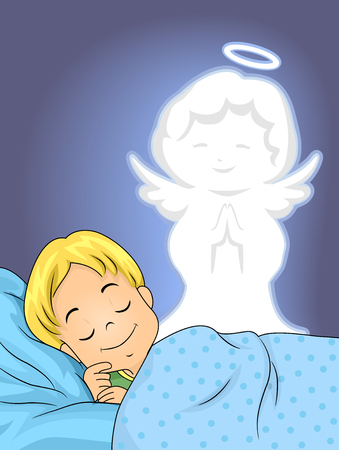 guarded: Illustration of a Sleeping Boy Guarded by His Guardian Angel
