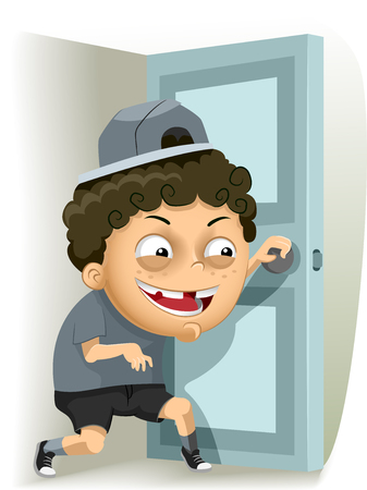 Illustration of a Mischievous Little Boy Sneaking Out Stock Photo